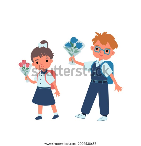 A boy and a girl in a blue school uniform and white shirts go to school with bouquets. September 1. Knowledge Day. Students. Flat Cartoon vector illustration