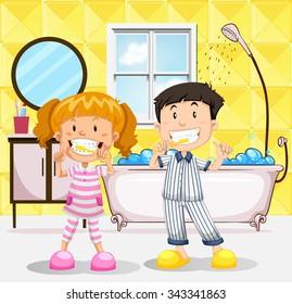 Boy and girl brushing teeth in the bathroom illustration