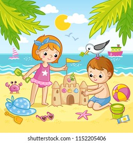 Boy and a girl are building a castle from the sand. Children playing on the beach by the sea. Vector illustration in children`s style.