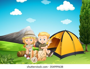 Boy and girl camping in the park illustration