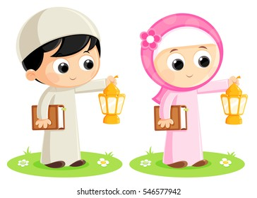 Boy and Girl are carrying Ramadan Lanterns