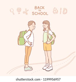 A boy and a girl are carrying school backpacks together. hand drawn style vector design illustrations.