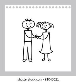 Boy and girl  (cartoon doodle)