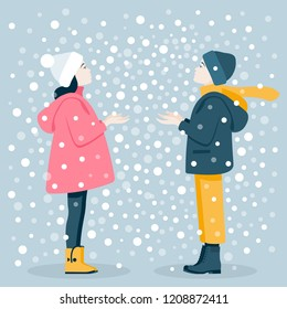 Boy and girl catch snowflakes. Winter Games. Christmas Holidays. Vector flat illustration