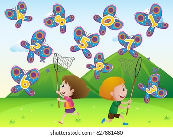 Boy and girl catching butterflies with numbers illustration