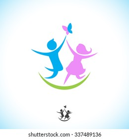 Boy and girl caught a butterfly. Abstract illustration of logo template happy children.