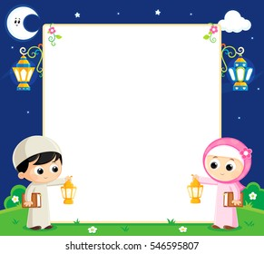 boy and girl are Celebrating Ramadan and carrying Lanterns and between them an empty white board