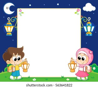 boy and girl Celebrating Ramadan and carrying Lanterns and between them an empty white board