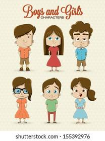 Boy and girl character illustration