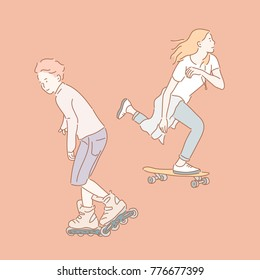 Boy and girl character skating board and inline skating hand drawn style vector doodle design illustrations.