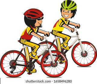 Boy and Girl Characters Riding Bicycle. Active People Enjoying Bike Ride. Healthy Lifestyle, Eco Transportation. Vector Illustration