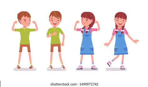 Boy and girl child 7 to 9 years old, active school age kid wearing summer outfit standing, dancing, athlete showing strong muscles. Vector flat style cartoon illustration isolated on white background