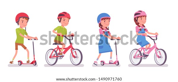 Boy, girl child 7 to 9 years old, school age kid riding a kick scooter, bike. Active fun and outdoor recreation with sport vehicle. Vector flat style cartoon illustration isolated on white background