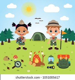 boy and girl children boy scouts at camp. Background included. 100% vector layered