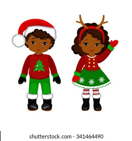 Boy and Girl with Christmas Costume. Vector cartoon illustration.