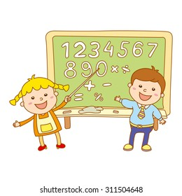 Boy and girl at classroom studying maths lesson solving operations art