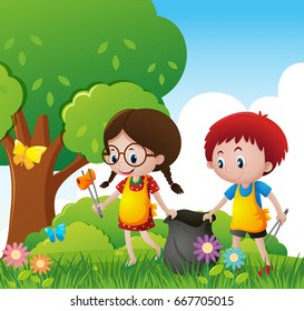 Boy and girl cleaning up the park illustration