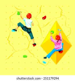 Boy and girl climbing a rock wall