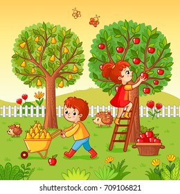 Boy and girl collect fruit harvest. Vector illustration with autumn garden in a cartoon style.