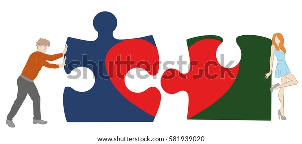boy and girl collect puzzle with a heart. the concept of a romantic relationship. vector illustration.