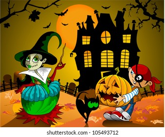 boy and girl in costume on Halloween are (vector);