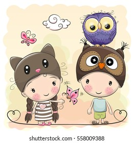 Boy and Girl with Cute Owl and butterflies