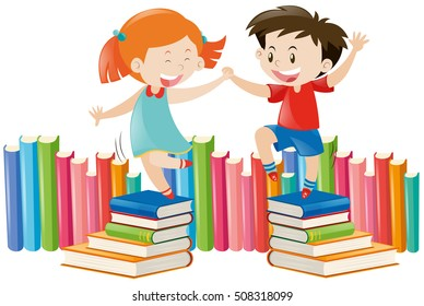 Boy and girl dancing on books illustration