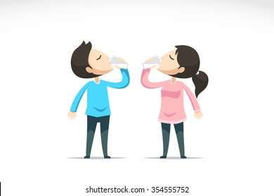 Boy and girl drink water. Vector illustration