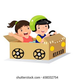 Boy and girl driving with cardboard car