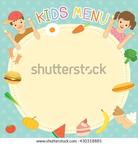 Boy Girl Eating Kids Menu Template Stock Vector Royalty Free