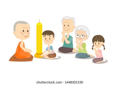 Boy Girl and Elderly couple Offering Buddhist with Lent Candles Vector