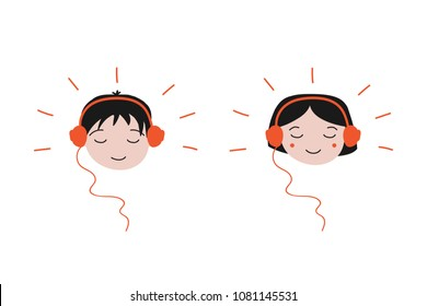 Boy and girl enjoying sounds in their headphones, concept of listenning music.