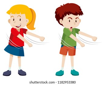 Boy and girl floss dance illustration