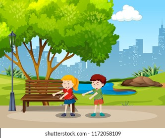 Boy and girl floss dance in the park illustration