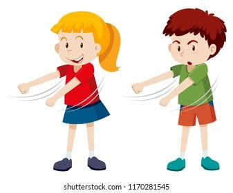 Boy and girl floss dancing illustration