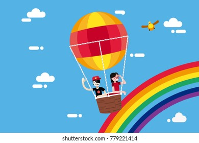 Boy and girl flying in a hot air balloon. Vector illustration in a flat minimal style.