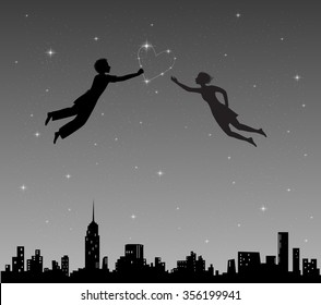 boy and girl flying in night sky with constellation heart above the city, romantic dream, Valentine`s day, vector.