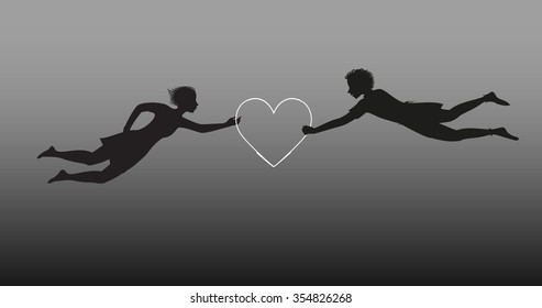 boy and girl flying silhouette with white heart, Valentine`s day, marriage abstract, vector.