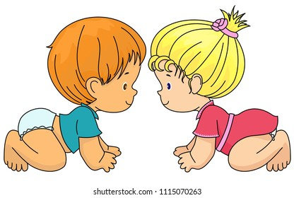 Boy and girl are friends. Vector, isolated. Socialization, Infancy. Diapers,