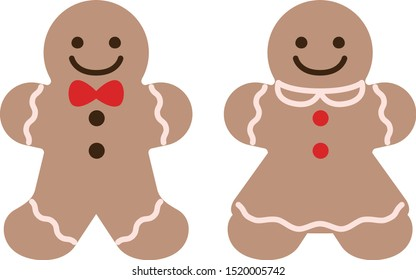 Boy and girl gingerbread cookies