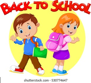 Boy and girl are going to School