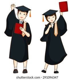 boy and girl graduate from high school vector illustration