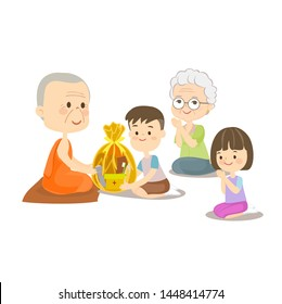 Boy Girl and Grandma sitting and offering to Buddhist Vector