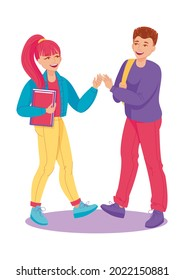 Boy and girl gretting giving hands. Happy students, young people high five meeting greetins. Human communication, frendy talking. Vector illustration, cartoon characters, isolated, icon, simbol