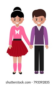 Boy and girl. Happy children white background. Happy boy and girl are holding hands. Vector illustration.