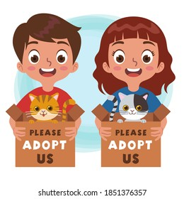 A boy and girl holding a cardboard box filled with cats for adoption with the words