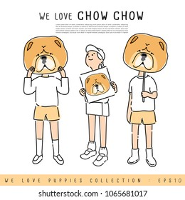 Boy and Girl Holding Chow Chow's face :  Vector Illustration
