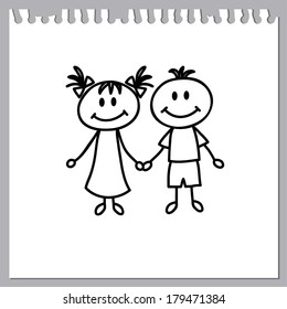 boy and girl holding hands(cartoon doodle)