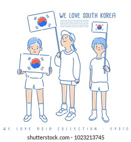 Boy and Girl Holding National Flag : South Korea : Vector Illustration