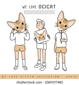 Boy and Girl Holding Ocicat Cat's face :  Vector Illustration